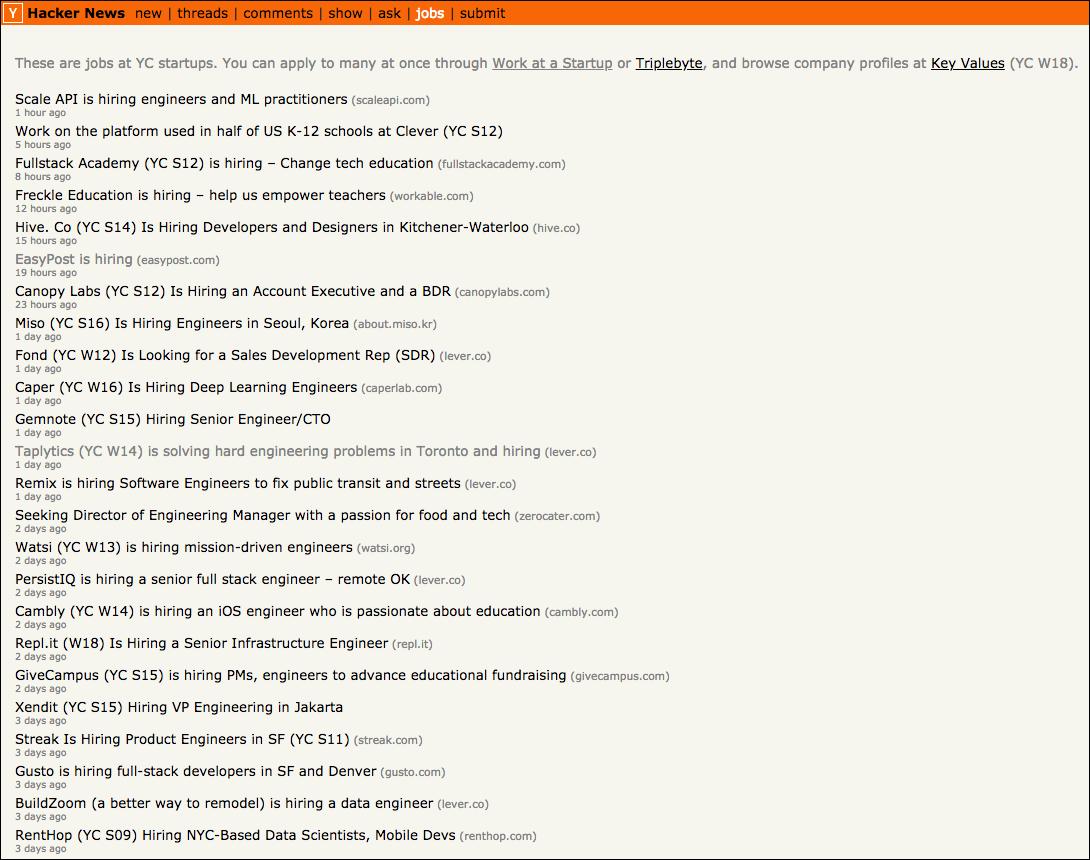List of Job Postings on Hacker News